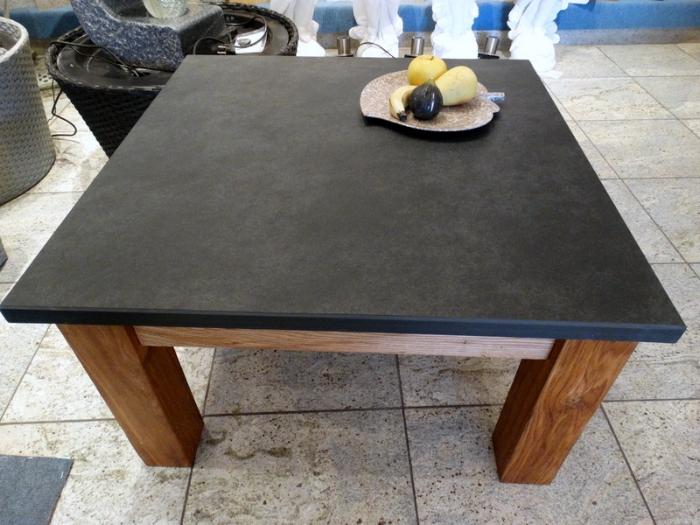 schiefer tisch aus massiver platte, eiche massiv für innen u, Wohnzimmer